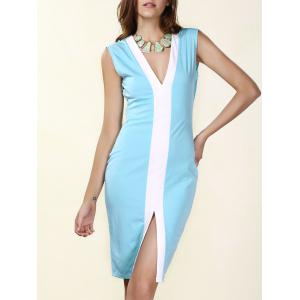 Women's Sexy Plunging Neck Sleeveless Blue Bodycon Dress - Azure - S