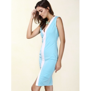 Women's Sexy Plunging Neck Sleeveless Blue Bodycon Dress -