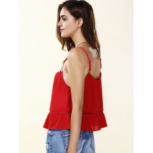 Chic Spaghetti Strap Embroidered Lace- Up Tank Top For Women - RED XL