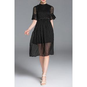 Half Sleeve See-Through Polka Dot Dress -