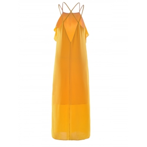 Women's Stylish Cut Out Spaghetti Strap Pure Color Dress - GINGER S