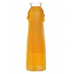 Women's Stylish Cut Out Spaghetti Strap Pure Color Dress - Ginger - S