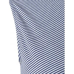 Fashionable Striped Knit T-shirt For Women - BLUE/WHITE S
