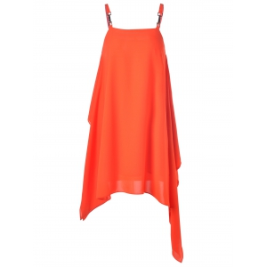 Fashionable Spaghetti Strap Metal Button Asymmetric Dress For Woman -