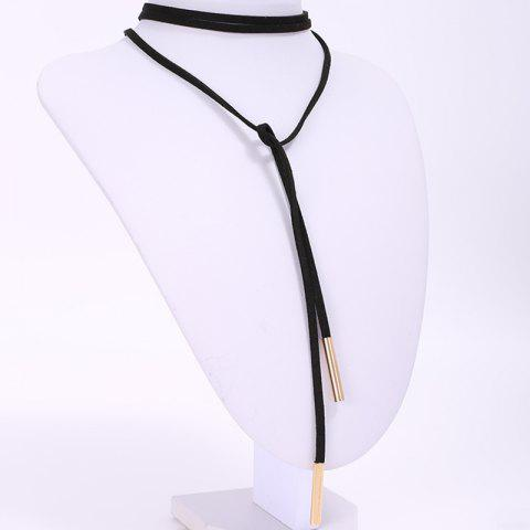 Fashion Chic Faux Leather Adjustable Sweater Chain For Women - BLACK  Mobile