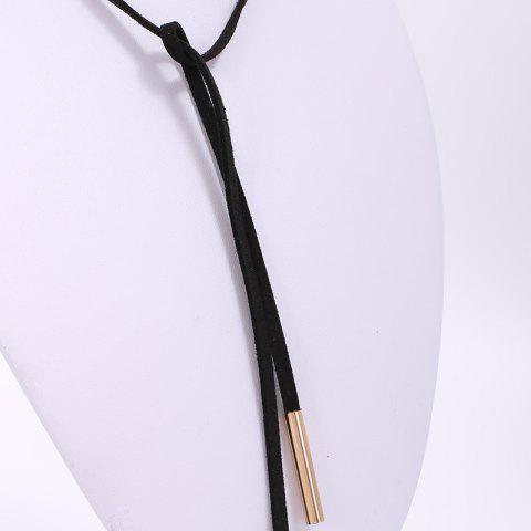 Shops Chic Faux Leather Adjustable Sweater Chain For Women - BLACK  Mobile