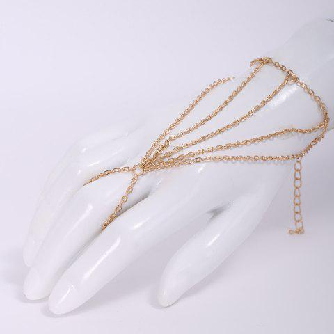 Best Fashion Multi-Layered Tassels Simple Design Bracelet With a Ring For Women - GOLDEN  Mobile