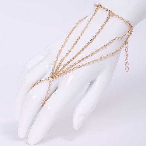Fancy Fashion Multi-Layered Tassels Simple Design Bracelet With a Ring For Women - GOLDEN  Mobile