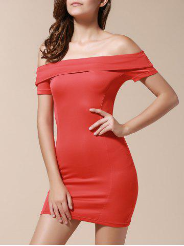 Chic Off The Shoulder Bodycon Short Dress RED S