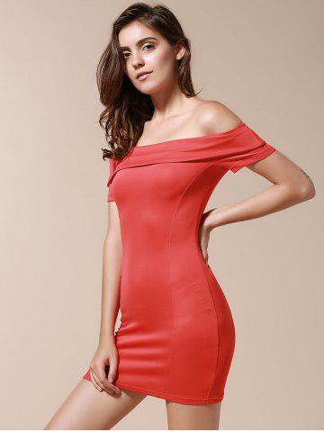 Outfits Off The Shoulder Bodycon Short Dress - L RED Mobile