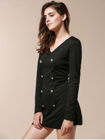 Shops Fashionable V-Neck Solid Color Double-Breasted Long Sleeve Women's Dress - M BLACK Mobile