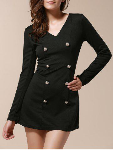 Store Fashionable V-Neck Solid Color Double-Breasted Long Sleeve Women's Dress BLACK M