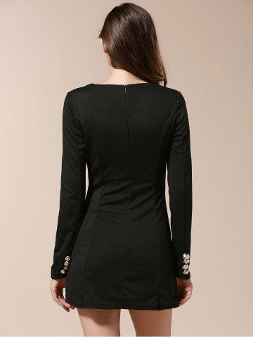Online Fashionable V-Neck Solid Color Double-Breasted Long Sleeve Women's Dress - M BLACK Mobile