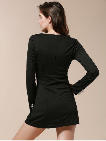 Online Fashionable V-Neck Solid Color Double-Breasted Long Sleeve Women's Dress - L BLACK Mobile