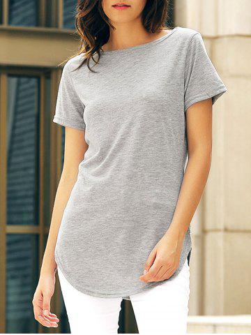 Online Short Sleeve Solid Color Slit Casual Dress GRAY S