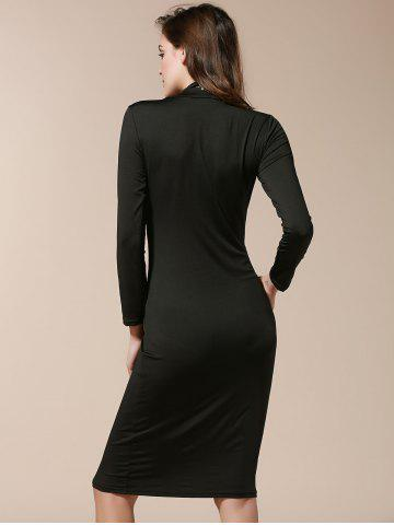 Fashion Simple Turtle Neck Long Sleeve Solid Color Slimming Women's Dress - M BLACK Mobile