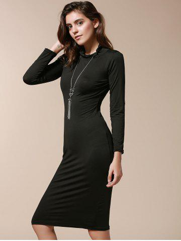 Unique Simple Turtle Neck Long Sleeve Solid Color Slimming Women's Dress - M BLACK Mobile