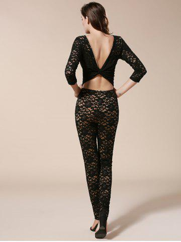 Discount Open Back Bodycon Lace Jumpsuit - L BLACK Mobile