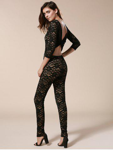 Best Open Back Bodycon Lace Jumpsuit - L BLACK Mobile