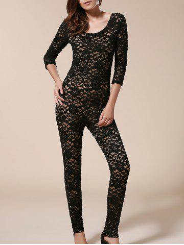 Buy Open Back Bodycon Lace Jumpsuit - L BLACK Mobile