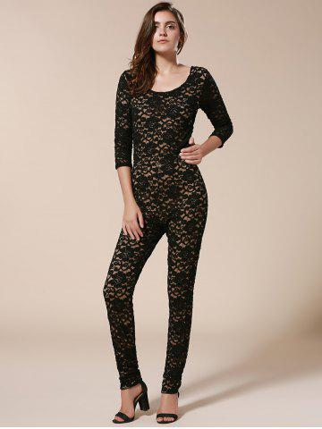 Unique Open Back Bodycon Lace Jumpsuit - L BLACK Mobile