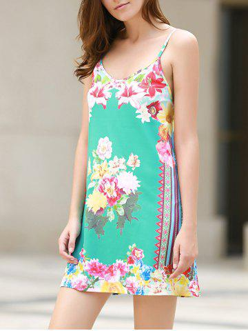 Trendy Sexy Plunging Neck Sleeveless Floral Print Loose-Fitting Women's Dress WATER BLUE L