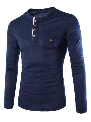 Sale Fashion Slimming Round Neck Contrast Color Placket Long Sleeve Polyester T-Shirt For Men CADETBLUE XL