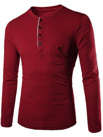 New Fashion Slimming Round Neck Contrast Color Placket Long Sleeve Polyester T-Shirt For Men WINE RED XL