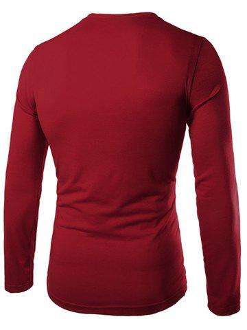 Shop Fashion Slimming Round Neck Contrast Color Placket Long Sleeve Polyester T-Shirt For Men - 2XL WINE RED Mobile