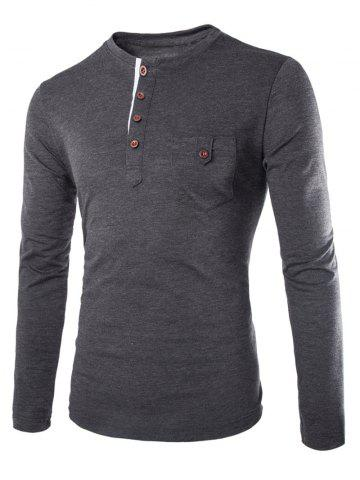 Unique Fashion Slimming Round Neck Contrast Color Placket Long Sleeve Polyester T-Shirt For Men DEEP GRAY M