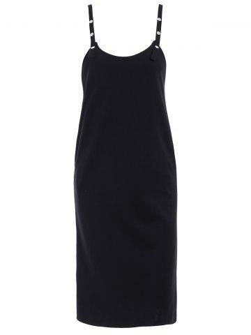 Trendy Stylish Strap Solid Color Overall Dress For Women