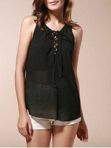 Store Lace Up Chiffon Tank Top BLACK 3XL