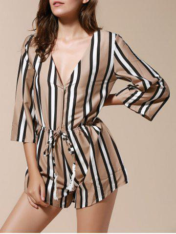 Online Alluring 3/4 Sleeve Plunging Neck Striped Women's Romper