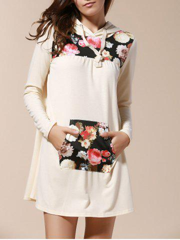 Shop Fresh Style Hooded Long Sleeve Floral Print Women's Pullover Hoodie