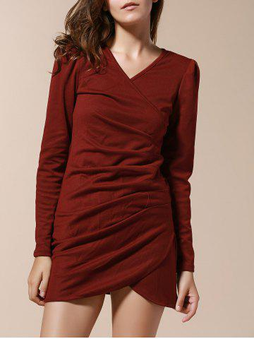 Sale V-Neck Side Pleated Long Sleeve Ruched Dress WINE RED XL