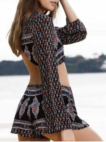 Fashion Trendy Printed Long Sleeve Crop Top + Shorts Women's Twinset