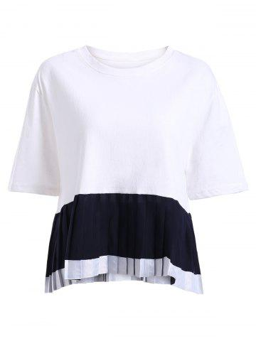 Chic Stylish Short Sleeve Spliced Hit Color Women's Pleated T-Shirt