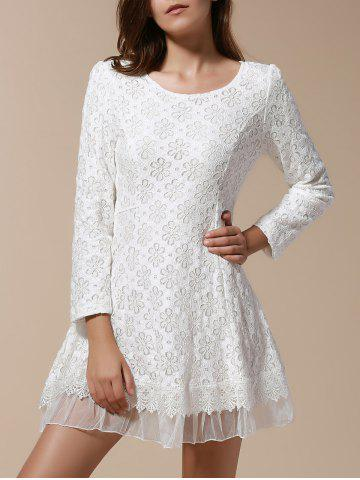 Cheap Ladylike Style Solid Color Scoop Neck Lace Long Sleeves Slimming Burnt-Out Women's Dress