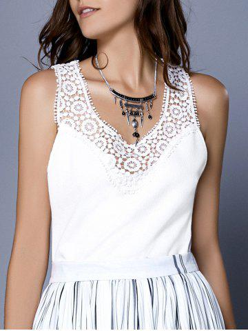 Scoop Neck Ribbed Lace Tank Top For Women