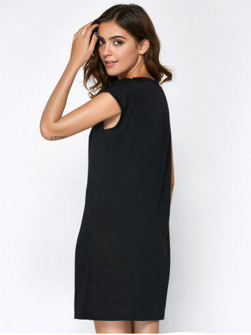Affordable Hollow Out Summer Casual Dress With Sleeves - L BLACK Mobile