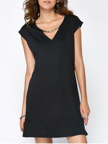 Fashion Hollow Out Summer Casual Dress With Sleeves BLACK L