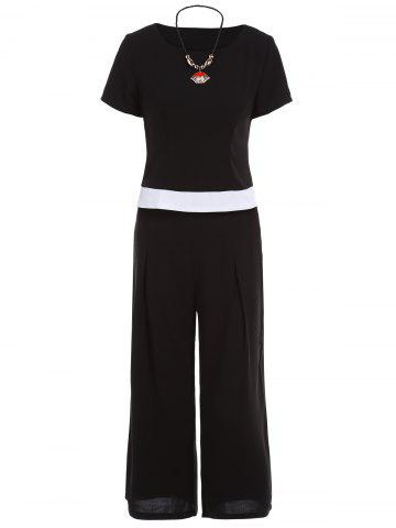 Shop Elegant Jewel Neck Color Patchwork T-Shirt and Black Wide-Leg Pants For Women