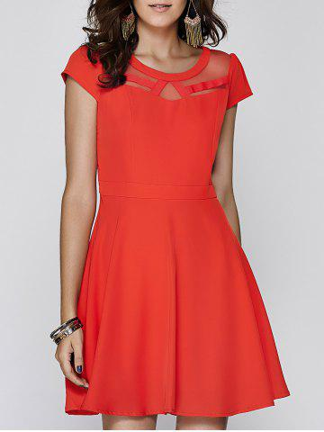 New Ladylike Cap Sleeve Red Voile Spliced Dress For Women