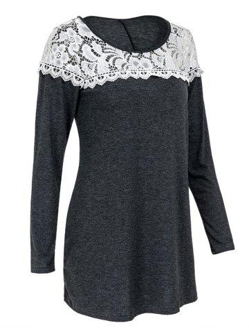 Sale Casual Scoop Neck Lace Patchwork Long Sleeves T-Shirt For Women - L GRAY Mobile