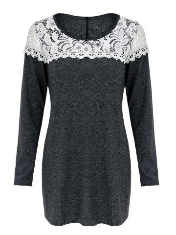 Buy Casual Scoop Neck Lace Patchwork Long Sleeves T-Shirt For Women - L GRAY Mobile