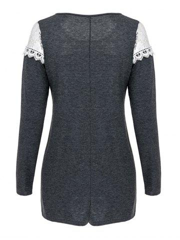 Online Casual Scoop Neck Lace Patchwork Long Sleeves T-Shirt For Women - L GRAY Mobile