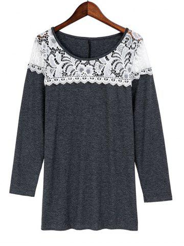 Latest Casual Scoop Neck Lace Patchwork Long Sleeves T-Shirt For Women - L GRAY Mobile