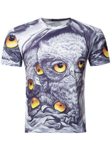 New Casual Owl Printing Round Collar Short Sleeve T-Shirt For Men - M COLORMIX Mobile