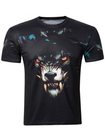 Store Casual 3D Wolf Printing Round Collar Short Sleeve T-Shirt For Men