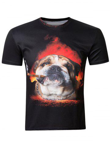 Discount Casual 3D Dog Printing Round Collar Short Sleeve T-Shirt For Men
